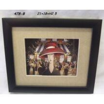 478-B Falikép piros kalapos hölgy