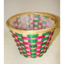 22-38/CS  Bambusz kaspó zöld-pink csíkos
