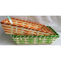 8-316  Bambusz kosár tégla narancs-zöld MIX