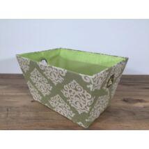 55-L-108  Textil doboz zöld mintás