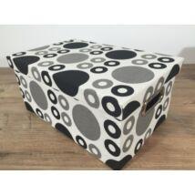 55-LF-98/M  Textil doboz fekete pöttyös