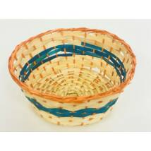 208-70 Bambusz kosár kerek narancs-kék csíkkal